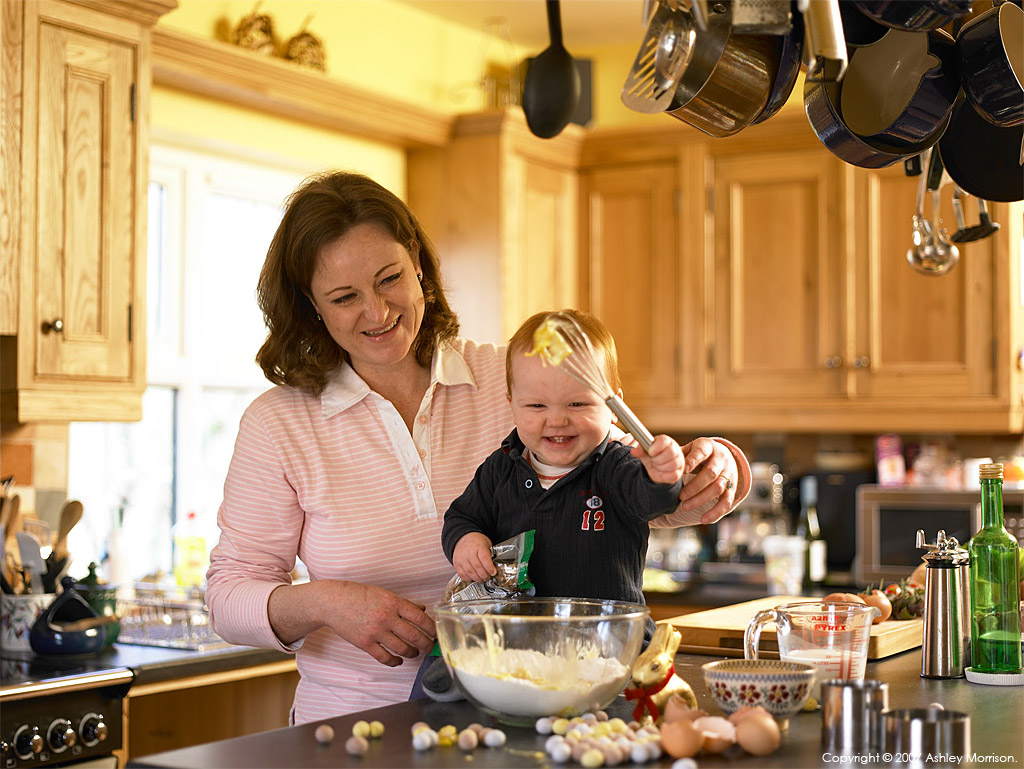 Liz Moore - who is the resident chef and manager at the Belle Isle Cookery School in Fermanagh - with her son having fun.