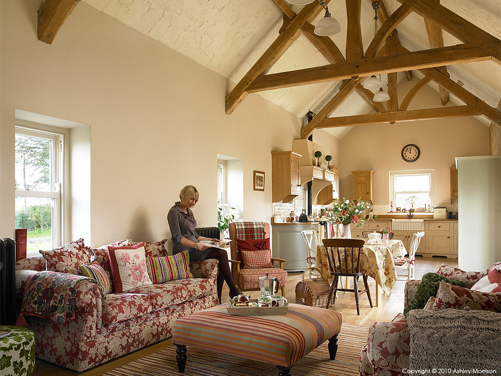 Sonya McDowell in the living room of her barn conversion near Donaghadee in County Down by Ashley Morrison.